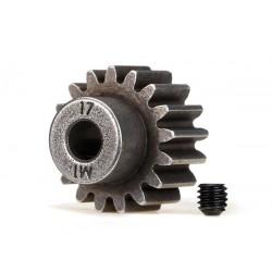 Pinion de 17 dinti (pas metric 1) (pentru ax de 5 mm) / șurub de fixare compatibil cu pinioane din oțel