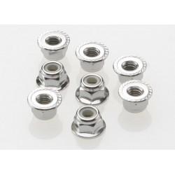 Piulite metalice zimtate cu flansa antidesfacere din nylon de 4mm (8mm)